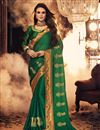 image of Green Party Style Designer Embroidered Fancy Fabric Saree