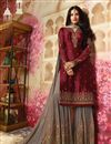 photo of Festive Wear Georgette Fabric Designer Sharara Dress In Maroon