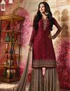 image of Festive Wear Georgette Fabric Designer Sharara Dress In Maroon