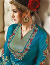 photo of Sky Blue Color Beautifully Embroidered Banarasi Silk And Net Designer Anarkali Suit
