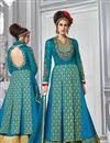 image of Sky Blue Color Beautifully Embroidered Banarasi Silk And Net Designer Anarkali Suit