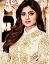 photo of Shamita Shetty Beige Georgette Embroidered Salwar Suit With Front Slit