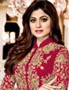 photo of Shamity Shetty Georgette Embroidered Red Suit With Front Slit