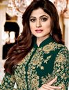 photo of Shamity Shetty Georgette Designer Suit In Teal With Front Slit