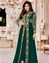 image of Shamity Shetty Georgette Designer Suit In Teal With Front Slit