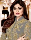 photo of Shamity Shetty Georgette Designer Suit In Grey With Front Slit