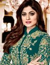 photo of Shamity Shetty Georgette Dark Cyan Suit With Front Slit