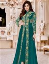 image of Shamity Shetty Georgette Dark Cyan Suit With Front Slit