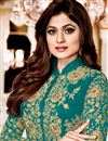 photo of Shamity Shetty Designer Embroidered Georgette Suit In Cyan With Front Slit