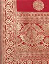 photo of Red Color Banarasi Silk Fabric Fancy Weaving Work Function Wear Dupatta