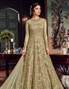 image of Sangeet Wear Sea Green Floor Length Embroidered Anarkali Dress