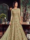 image of Sangeet Wear Sea Green Floor Length Embroidered Anarkali Dress