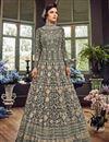 image of Net Fabric Long Floor Length Designer Embellished Anarkali Suit In Grey