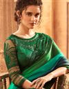 photo of Eid Special Embroidery Designs On Art Silk Fabric Green Color Party Wear Saree