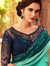 photo of Eid Special Embroidery Designs On Turquoise Color Occasion Wear Saree In Art Silk Fabric