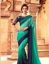 image of Eid Special Embroidery Designs On Turquoise Color Occasion Wear Saree In Art Silk Fabric