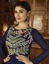 photo of Mouni Roy Blue Color Georgette Designer Palazzo Salwar Suit With Embroidery