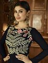 photo of Embroidered Black Color Long Length Georgette Palazzo Salwar Suit Featuring Mouni Roy