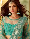 photo of Art Silk Party Style Lace Border Saree In Cyan With Fancy Blouse