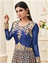 photo of Fabulous Blue Color Embroiderd Banarasi Silk Anarkali Suit Featuring Mouni Roy