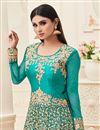 photo of Mouni Roy Featuring Soothing Cyan Color Banarasi Silk Embroidered Anarkali Salwar Kameez