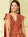 photo of Wedding Special Gauhar Khan Red Taffeta Silk Floor Length Designer Anarkali