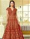 image of Wedding Special Gauhar Khan Red Taffeta Silk Floor Length Designer Anarkali