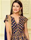 photo of Gauhar Khan Blue Taffeta Silk Floor Length Anarkali Dress