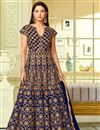 image of Gauhar Khan Blue Taffeta Silk Floor Length Anarkali Dress