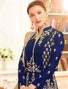 photo of Wedding Special Gauhar Khan Taffeta Silk Long Floor Length Anarkali In Blue