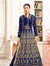 image of Wedding Special Gauhar Khan Taffeta Silk Long Floor Length Anarkali In Blue