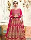 image of Wedding Special Gauhar Khan Rani Long Floor Length Art Silk Anarkali Dress