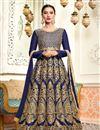 image of Gauhar Khan Art Silk Navy Blue Long Anarkali Salwar Suit