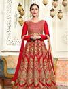 image of Gauhar Khan Red Art Silk Floor Length Anarkali Dress