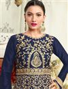 photo of Wedding Special Gauhar Khan Art Silk Long Floor Length Anarkali Salwar Suit In Navy Blue