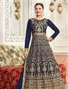 image of Wedding Special Gauhar Khan Art Silk Long Floor Length Anarkali Salwar Suit In Navy Blue