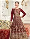 image of Wedding Special Gauhar Khan Long Floor Length Brown Anarkali Dress