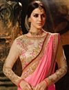 photo of Pink Chinon Function Wear Designer Fancy Saree With Embroidered Blouse