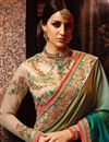 photo of Teal Designer Wedding Function Wear Saree With Embroidered Blouse