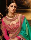 photo of Cyan Designer Wedding Function Wear Saree With Embroidered Blouse