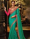 image of Cyan Designer Wedding Function Wear Saree With Embroidered Blouse
