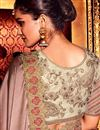 photo of Fancy Brown Art Silk Plain Saree with Lace Border And Embellished Blouse