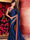 image of Blue Designer Plain Saree with Lace Border And Embroidered Blouse
