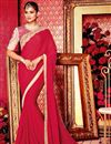 image of Function Wear Red Plain Fancy Saree with Lace Border And Embellished Blouse