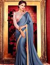 image of Grey Wedding Wear Plain Saree with Lace Border And Embroidered Blouse