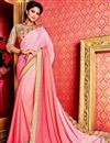image of Designer Plain Saree with Lace Border And Embroidered Blouse In Pink