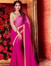 image of Fancy Art Silk Plain Saree with Lace Border And Embellished Blouse In Magenta