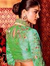 photo of Fancy Art Silk Plain Saree with Lace Border And Embellished Blouse In Beige