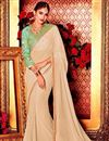image of Wedding Wear Plain Saree with Lace Border And Embroidered Blouse In Beige