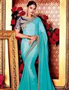 image of Sky Blue Function Wear Plain Fancy Saree with Lace Border And Embellished Blouse